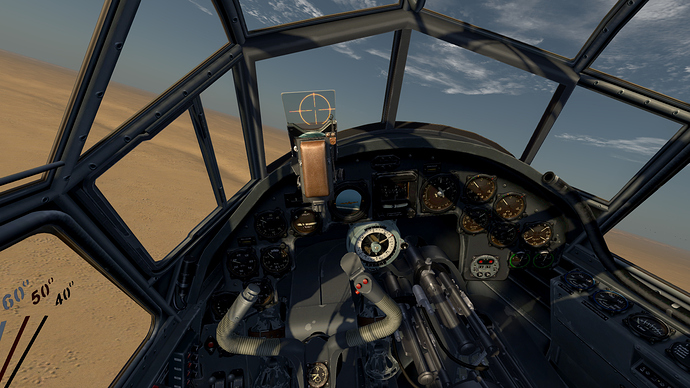 An in game screenshot of a Ju-88 in the pilots position showing the view and the instrument panel.