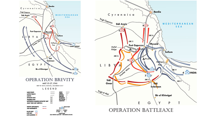 Two maps showing the Operation Brevity and Operation Battleaxe areas.