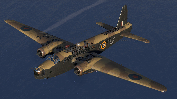 An in game screenshot of a Wellington bomber, external from the front left showing damage in the form of a lot of missing aircraft panels.