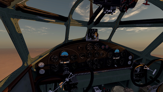 An in game screenshot of a Cicogna from the pilots position showing the view and the instrument panel.