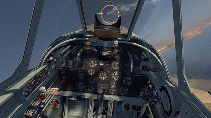 An in game screenshot of a Tomahawk from the pilot position showing the view and instrument panel.