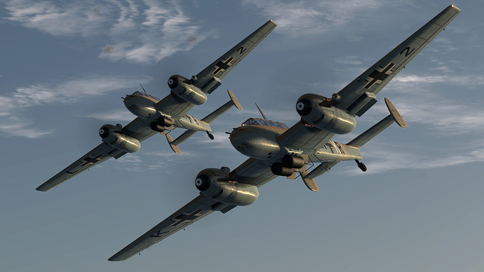 An in game screenshot of a pair of Bf-110, external from the low left turning away from the camera in close formation.