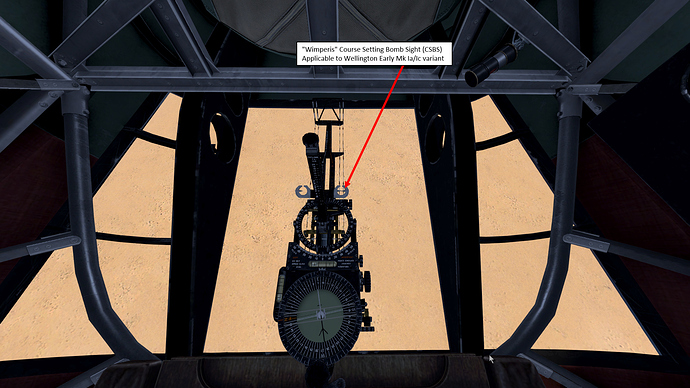 An in game screenshot of a Wellington bomber showing the Course Setting Sight.