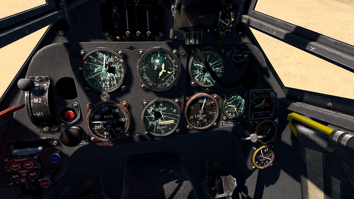An in game screenshot from the pilot position in a Bf-109 showing damage to most of the instruments.