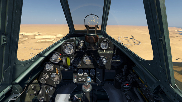 An in game screenshot of a Folgore from the pilots position showing the view and the instrument panel.