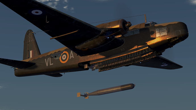 An in game screenshot of a Wellington bomber, external from the front right showing the release of a torpedo.