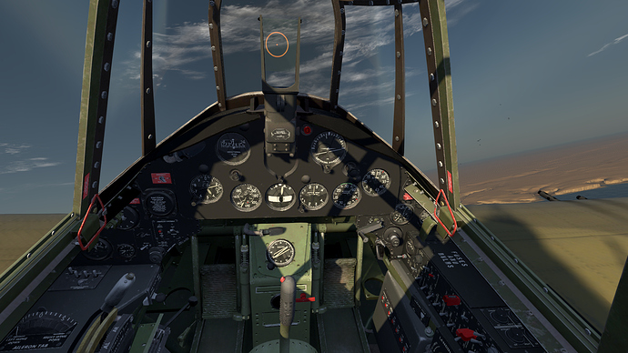 An in game screenshot of a Martlet from the pilots position showing the view and instrument panel.