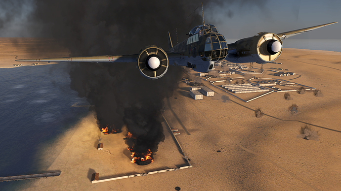 An in game screenshot of a Ju-88, external front looking back toward a low level bombing target.