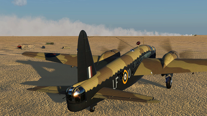 A screenshot of a Wellington bomber after engine startup.