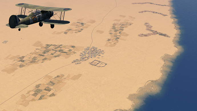 A screenshot of a Gladiator over Sidi Barrani as it is seen, in game.