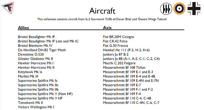 Image showing the list of all in game flyable aircraft.