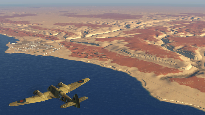 A screenshot of a Beaufighter near the port of Derna as it is seen, in game.