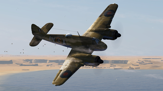 In game screenshot of a Beaufighter while diving and firing its guns.
