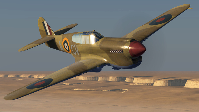 An in game screenshot of a Kittyhawk, external form the front right, close.