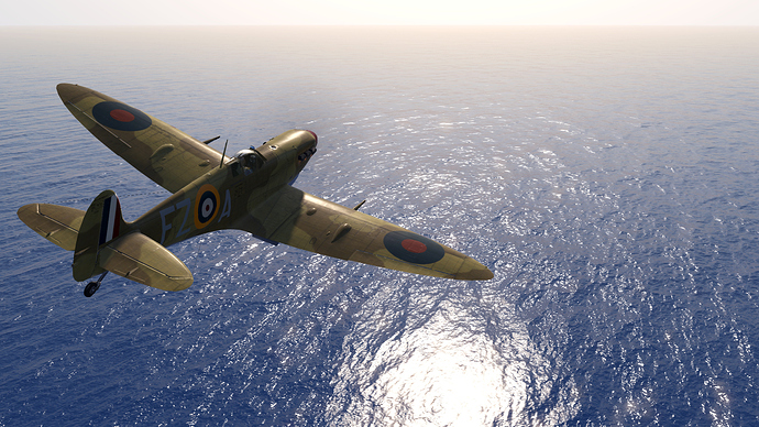 A screenshot of a Spitfire fighter over the blue Mediterranean.