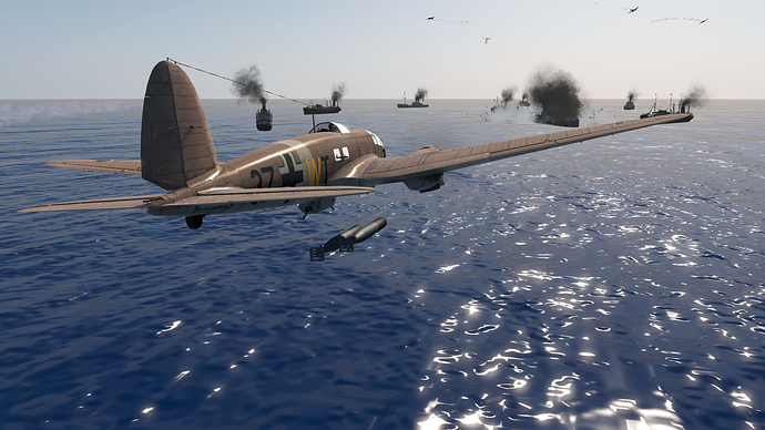 An in game screenshot of a He-111, external from the back right as it drops torpedoes in a low level naval attack.
