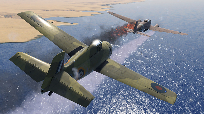 An in game screenshot of a Martlet, external from the back right as it engages an adversary bomber off the African coast.