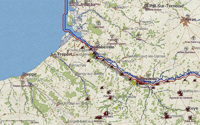 Map depicting the Area of Operations for the D.520 campaign (in Northern France)