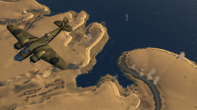 An in game screenshot of a pair of Blenhheim, external from the top town as it passes over the African coast.