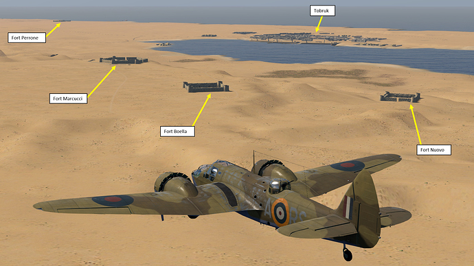A screenshot of a Blenheim bomber showing the forts that surround Tobruk as it is seen, in game.