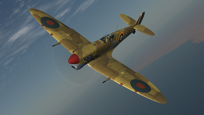 An in game screenshot of a Spitfire, external and in a left hand turn.