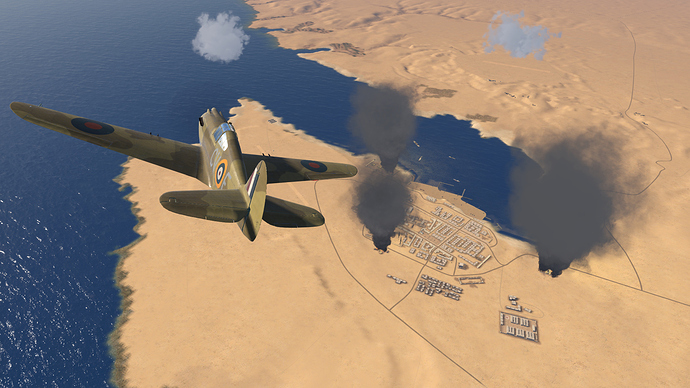 A screenshot of a Tomahawk over Tobruk as it is seen, in game.