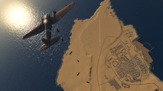 An in game screenshot of a He-111, external from the back right as it drops bombs from altitude on targets below.