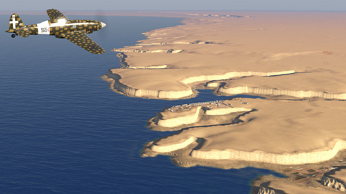 A screenshot of a C.202 Folgore over the port of Bardia as it is seen, in game.