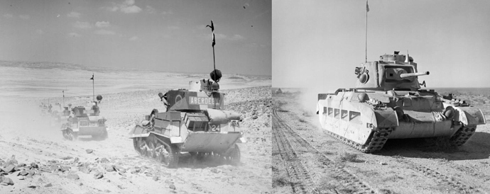 Pair of pictures showing older,small tanks in a dusty, featureless desert environment