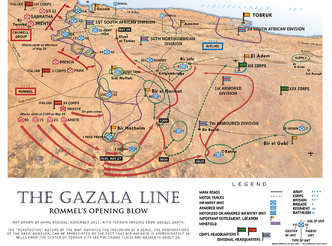 Map of The Gazala Line (Rommel's Opening Blow).