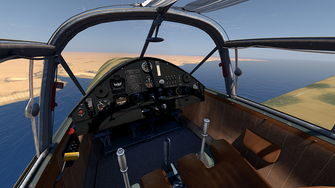 An in game screenshot of a Bf-108 Taifun from the pilots position showing the view and instrument panel.