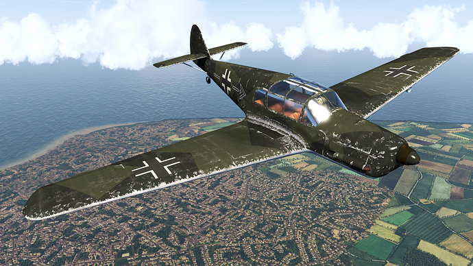 An in game screenshot of a Bf-108 Taifun, external from the fron right showing a weathered skin over northern France.