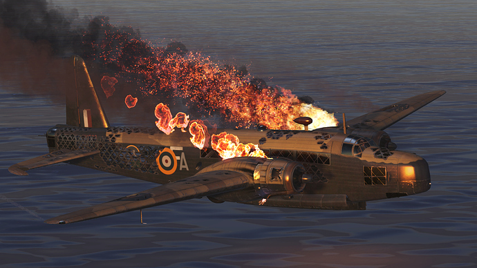 An in game, external screenshot of the Wellington model, showcasing the damage model and fire effects.