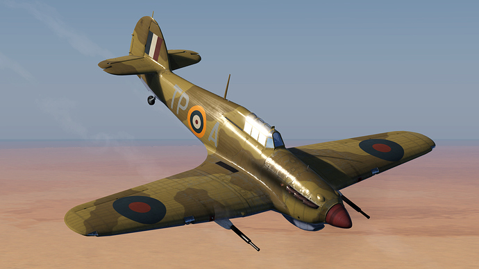 An in game screenshot of a Hurricane showing an external view of the 'tank buster' model.