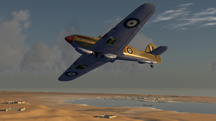An in game screenshot of a Hurricane, external and showing the bomb load.