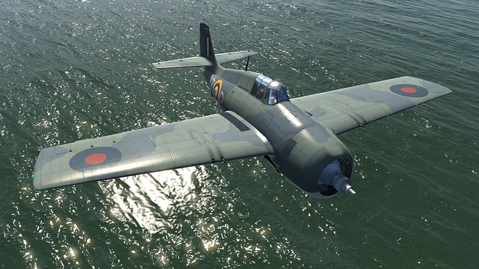 An in game screenshot of a Martlet, external from the front right as it flies low over the water.