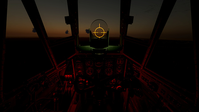 An in game screenshot of the Beaufighter gun-sight at dawn/dusk.
