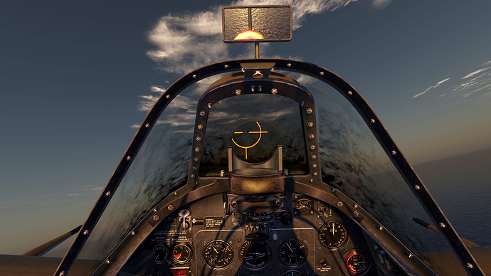 An in game screenshot from the pilot position in a Spitfire (?) showing oil on the canopy obstructing the pilot's view.