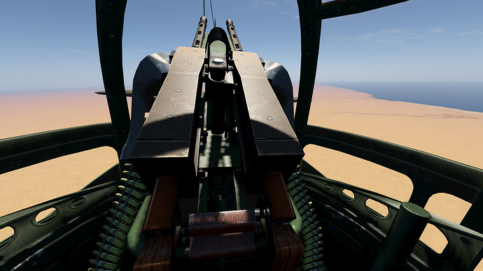 An in game screenshot of a Blenhheim from the front gunner position.