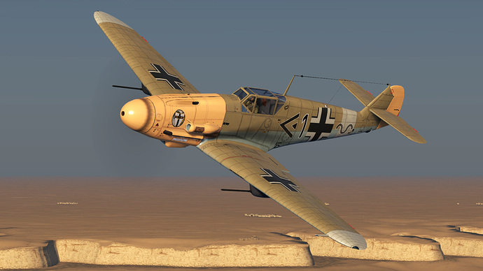 An in game screenshot of a Bf-109 'F' model, external from the font left in a slow left turn.