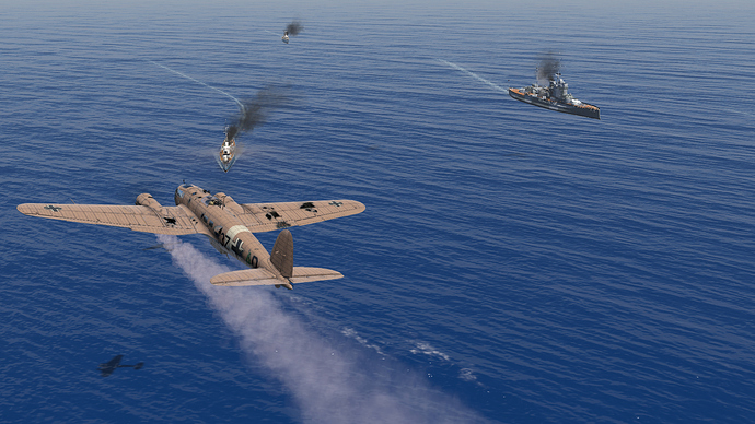An in game screenshot of a He-111, external from the back left showing some damage to it's structure as it passes a naval task force.