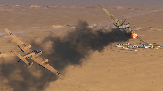 An in game screenshot of a Bf-110, external from the back right as it tracks down an one fire adversary aircraft.