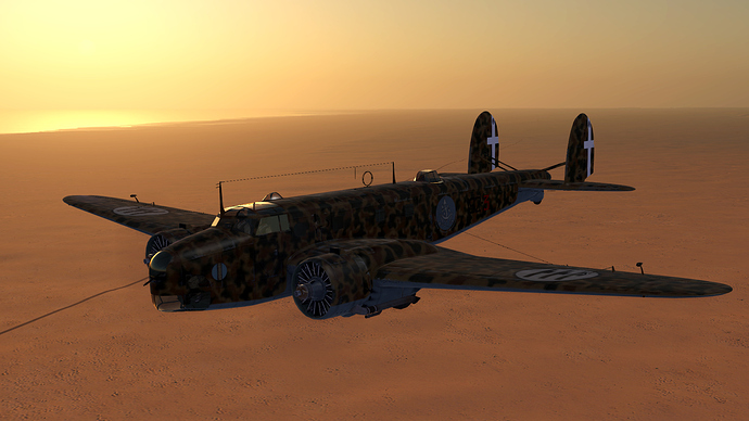 An in game screenshot of a Cicogna, external from the front left with an almost featureless desert view in the background.