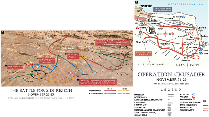 Two maps, one showing the unit movements for The Battle of Sidi Rezegh and the other for Operation Crusader from November 24 to 29