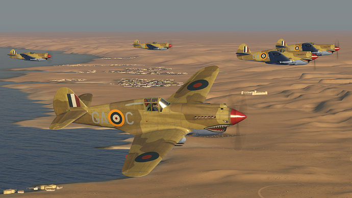 An in game screenshot of a flight of Tomahawks, flying left to right.