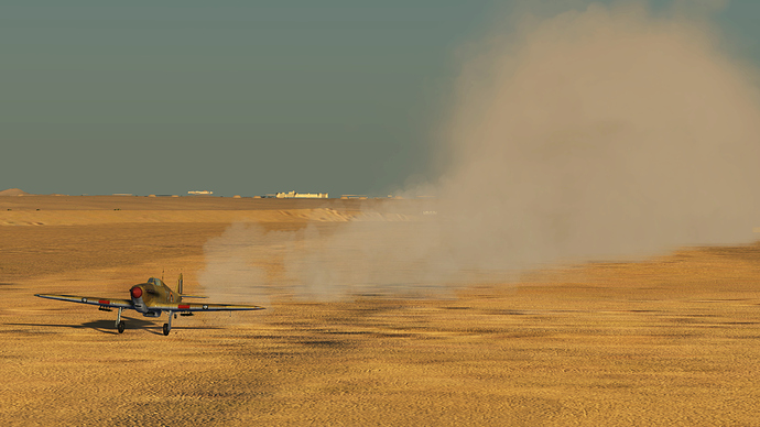 A screenshot of a Hurricane fighter as it takes off, showing the dust that is kicked up but the engine and wheels.