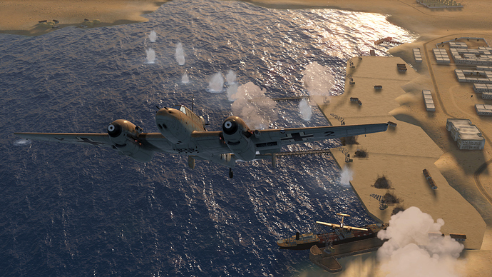 An in game screenshot of a Bf-110, external as it climbs away from a bombing run, looking back down toward the docked ship that was the target.