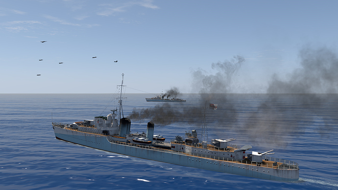 A screenshot of a Tribal-Class Destroyer as it is, in game.