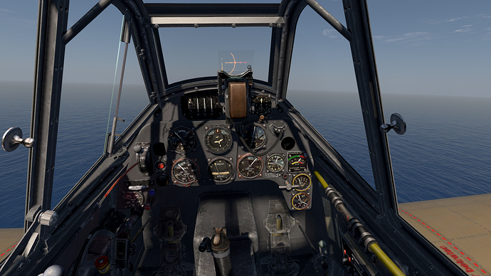 An in game screenshot of a Bf-109 'F' model from the pilots position showing the view and the instrument panel.