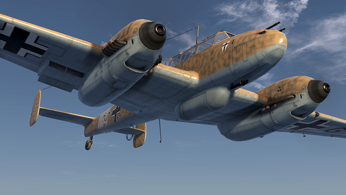 An in game screenshot of a Bf-110, external from the low front right showing the detail in the model.